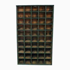Italian Green Wooden Typographical Shelf, 1950s