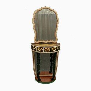 Mesa consola italiana chapada en caoba con espejo, años 50. Juego de 2
