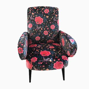 Flower Upholstery Lounge Chair, 1950s