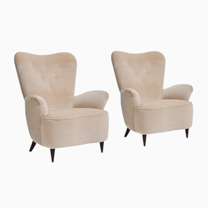 Italian High Back Lounge Chairs, 1950s, Set of 2