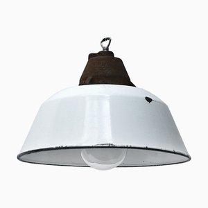Lampe à Suspension d'Usine Vintage Industrielle en Fonte Émaillée Blanche, années 50