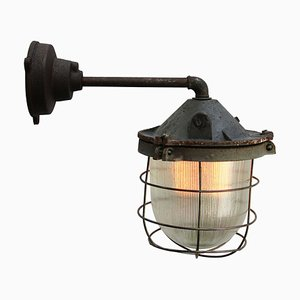 Vintage Industrial Cast Iron and Holophane Glass Sconce, 1950s