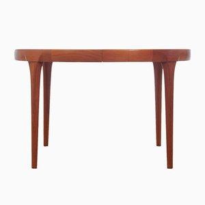 Table de Salle à Manger Ronde à Rallonge en Teck par Ib Kofod Larsen pour Faarup Møbelfabrik, années 60