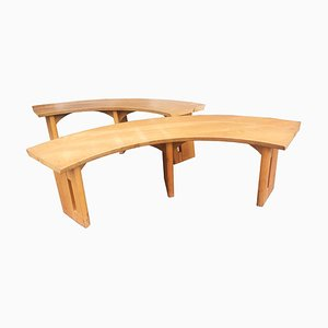 Elm Curved Benches by Pierre Chapo, 1970s, Set of 2
