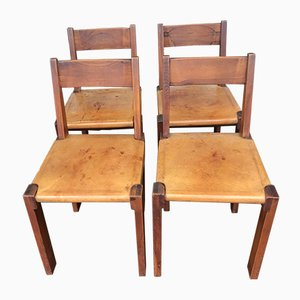 Model S24 Elm and Leather Dining Chairs by Pierre Chapo, 1970s, Set of 4