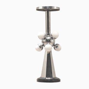 Lámpara de pie Sputnik iluminada de pedestal negro y cromado, años 50