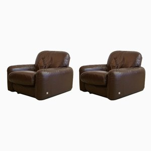 Leather Armchairs by Arrigo Arrigoni for Busnelli, 1970s, Set of 2