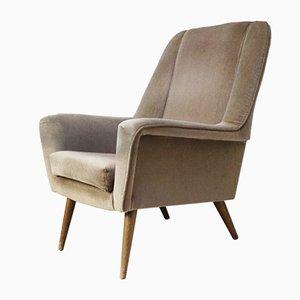 Dänischer Sessel mit Veloursbezug, 1960er
