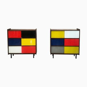 Small Mid-Century Mahogany and Stained Glass Cabinets from Inconnue, Set of 2
