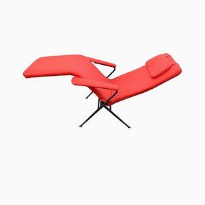 Roter italienischer Liegestuhl, 1950er