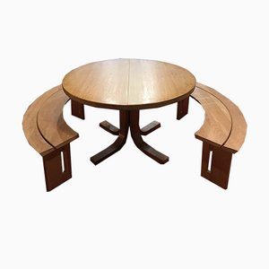 Vintage Model T40 Elm Dining Table by Pierre Chapo