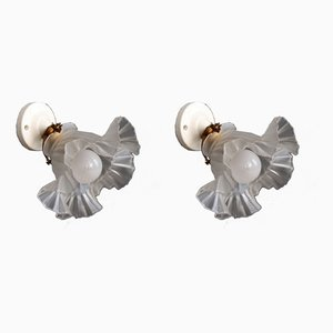 Porcelain and Glass Tulip Sconces, 1950s, Set of 2