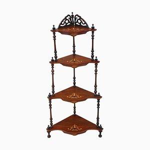 Antike viktorianische Eckregalablage mit Nussholz Intarsien