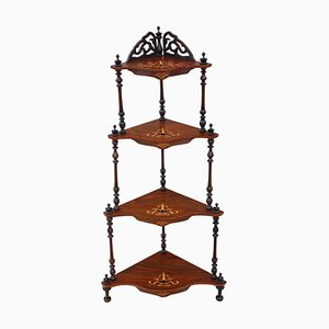 Antique Victorian Inlaid Walnut Corner Display Shelf