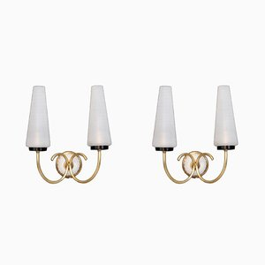 Brass and Opaline Glass Sconces, 1950s, Set of 2