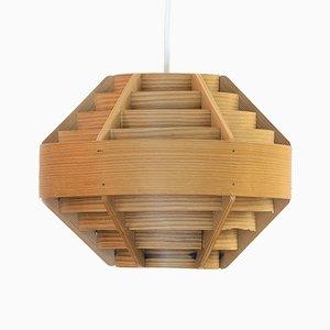 Swedish Model T510 Happy Pine Veneer Pendant Lamp by Hans-Agne Jakobsson for Ellysett, 1960s