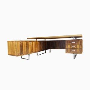 Schreibtisch aus Metall & Palisander von Jorgen Pedersen für Pedersen & Hansen, 1970er