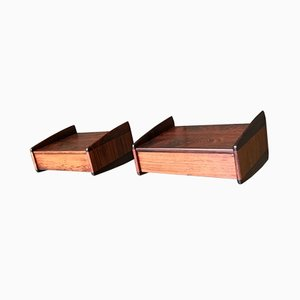 Danish Rosewood Floating Nightstands by Melvin Mikkelsen for Melvin Mikkelsen, 1960s, Set of 2