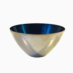 Silver-Plated and Blue Enamel Bowl from DGS, 1950s