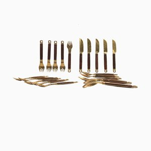 Danish Brass and Teak Cutlery Set from Carl Cohr, 1960s, Set of 20