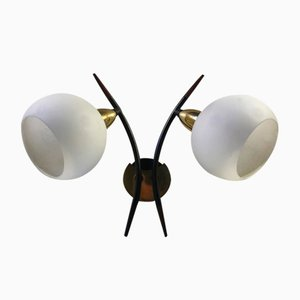 Italian Brass, Teak, and Opaline Glass Sconce, 1950s
