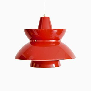 Danish Red Doo Wop Pendant Lamp by Jørn Utzon for Nordisk Solar, 1960s