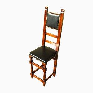 Petite Chaise pour Enfant en Bois et en Cuir, années 70