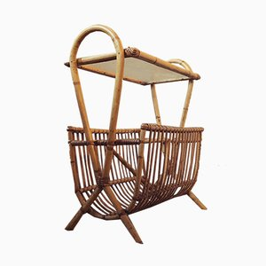 Mid-Century Danish Rattan and Bamboo Magazine Rack