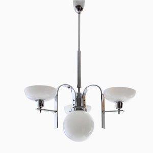 Lámpara de araña Art Déco cromada, años 30
