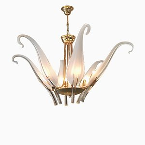 Murano Glass and Brass Chandelier by Archimede Seguso, 1970s