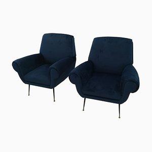 Blue Velvet Armchairs by Gigi Radice, 1960s, Set of 2