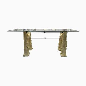 Mesa de comedor de piedra y vidrio, años 70