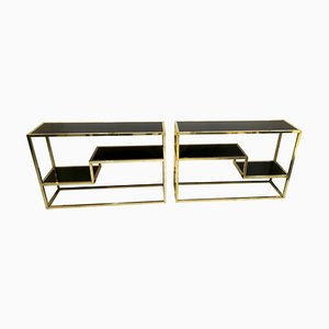 Brass and Black Opaline Glass Console Tables, 1970s, Set of 2