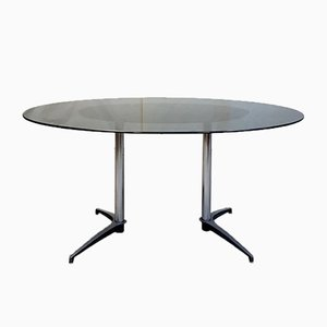 Mid-Century Glass and Aluminum Dining Table, 1970s