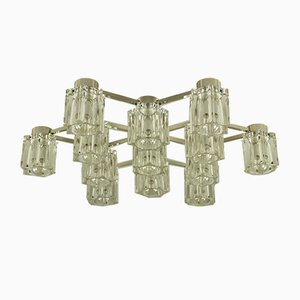 Mid-Century Glass and Steel Ceiling Lamp from Kinkeldey
