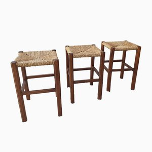 Vintage Rustic Stools, 1970s, Set of 3