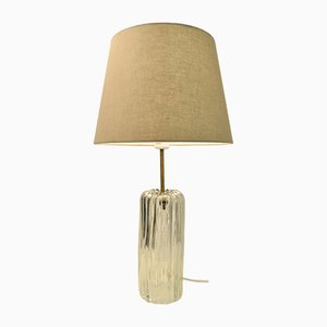 Swedish Art Deco Glass and Brass Table Lamp from Böhlmarks, 1930s