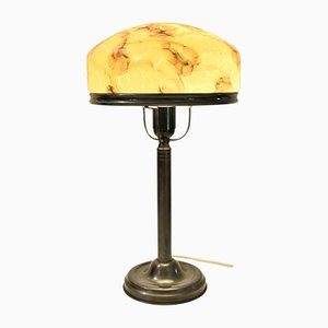 Swedish Art Nouveau Glass and Bronze Patinated Brass Table Lamp, 1920s