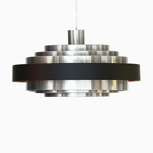 Swedish Space Age Brushed Aluminum Pendant Lamp, 1960s