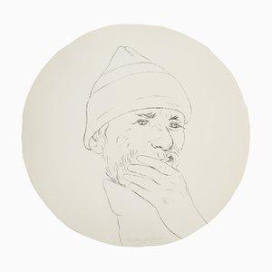 Miroir Convexe Autoportrait par Ronald Brooks Kitaj, années 80