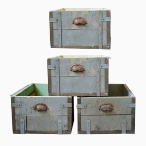 Industrial Trunks, 1950s, Set of 4