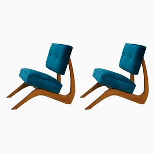 Mid-Century Walnut Armchairs by Adrian Pearsall, Set of 2