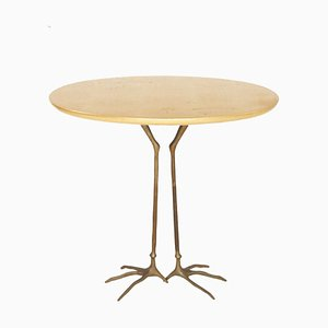 Vintage Italian Bronze & Gold Leaf Side Table by Meret Oppenheim for Gavina