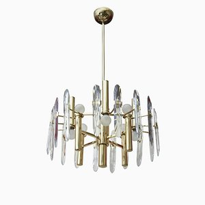 Vintage Crystal and Brass Pendant Lamp by Gaetano Sciolari for Sciolari