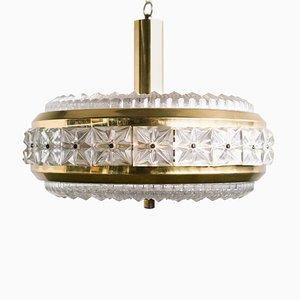 Lampada da soffitto Mid-Century in ottone di Carl Fagerlund per Orrefors