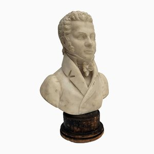 Antique Alabaster Bust by Odoardo Tabacchi