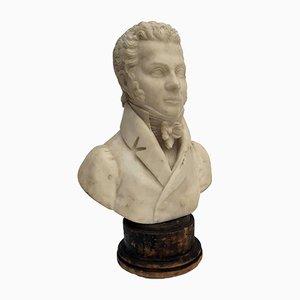 Buste Ancien en Albâtre par Odoardo Tabacchi
