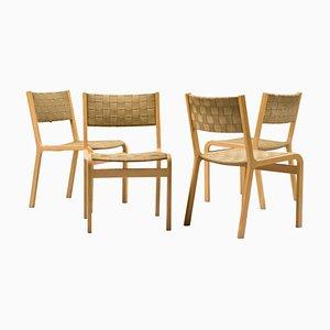 Chaises de Salle à Manger en Strap Tissé et Contreplaqué, années 60, Set de 4