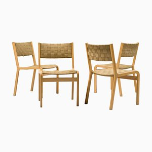 Woven and Plywood Strap Dining Chairs, 1960s, Set of 4