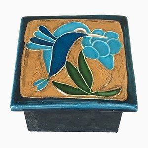Vintage Wooden and Ceramic Jewelry Box, 1970s